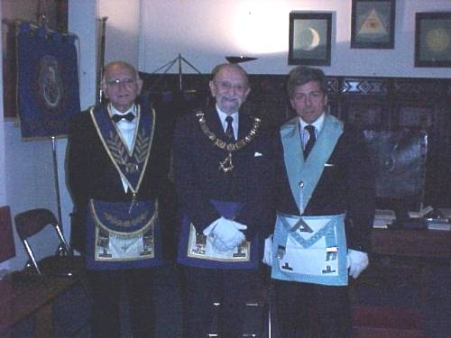 R.W.Bro.Goldwaser,R.W.Bro.Zeldis and R.W.Bro Gazzo at the lodge meeting