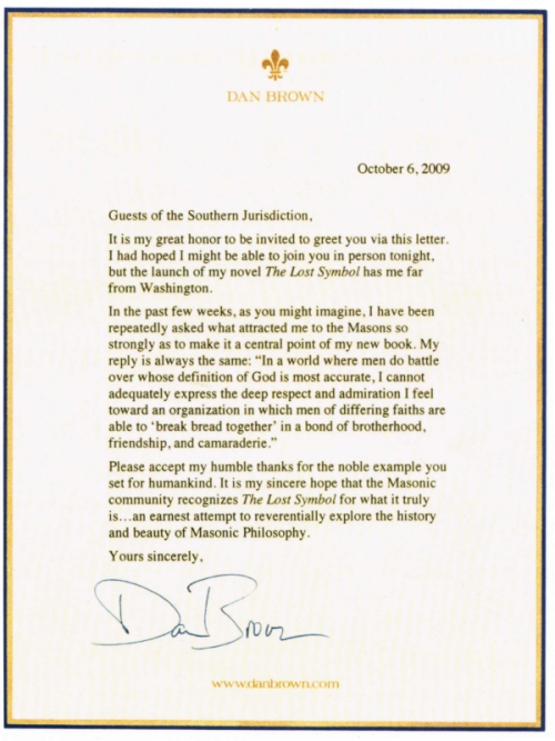 Dan Brown Writes A Letter To The Scottish Rite Freemasonry Usa